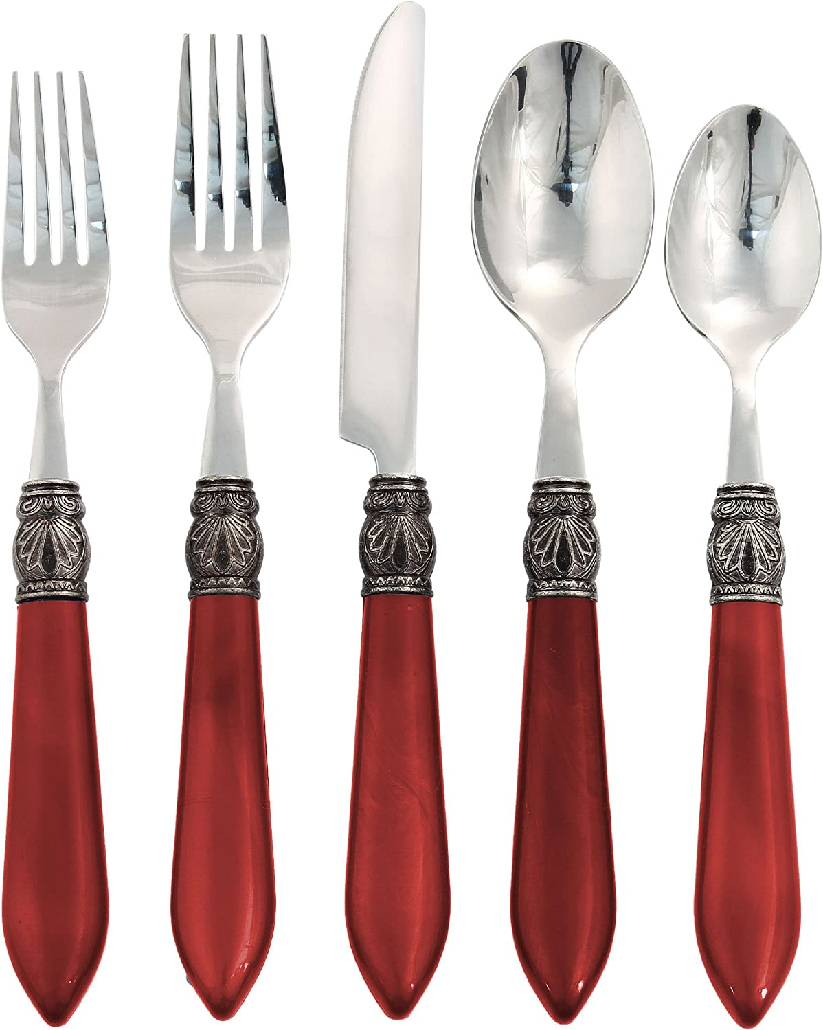 Argent by Hampton Forge, Sophia Red, 20 Piece Flatware Set