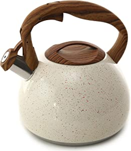 Tea Kettle, 2.7 Quart BELANKO Teapot for Stovetops Wood Pattern Handle with Loud Whistle Food Grade Stainless Steel Tea Pot Water Kettle - White
