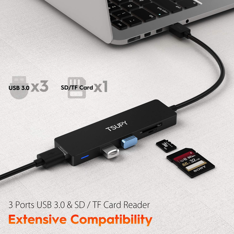 USB Adapter auf 3 USB 3.0 verl/ängerung TSUPY USB Hub 3.0 1.2m Kabel 5 in 1 SD TF Kartenleser f/ür Ihre Laptop PC usw.