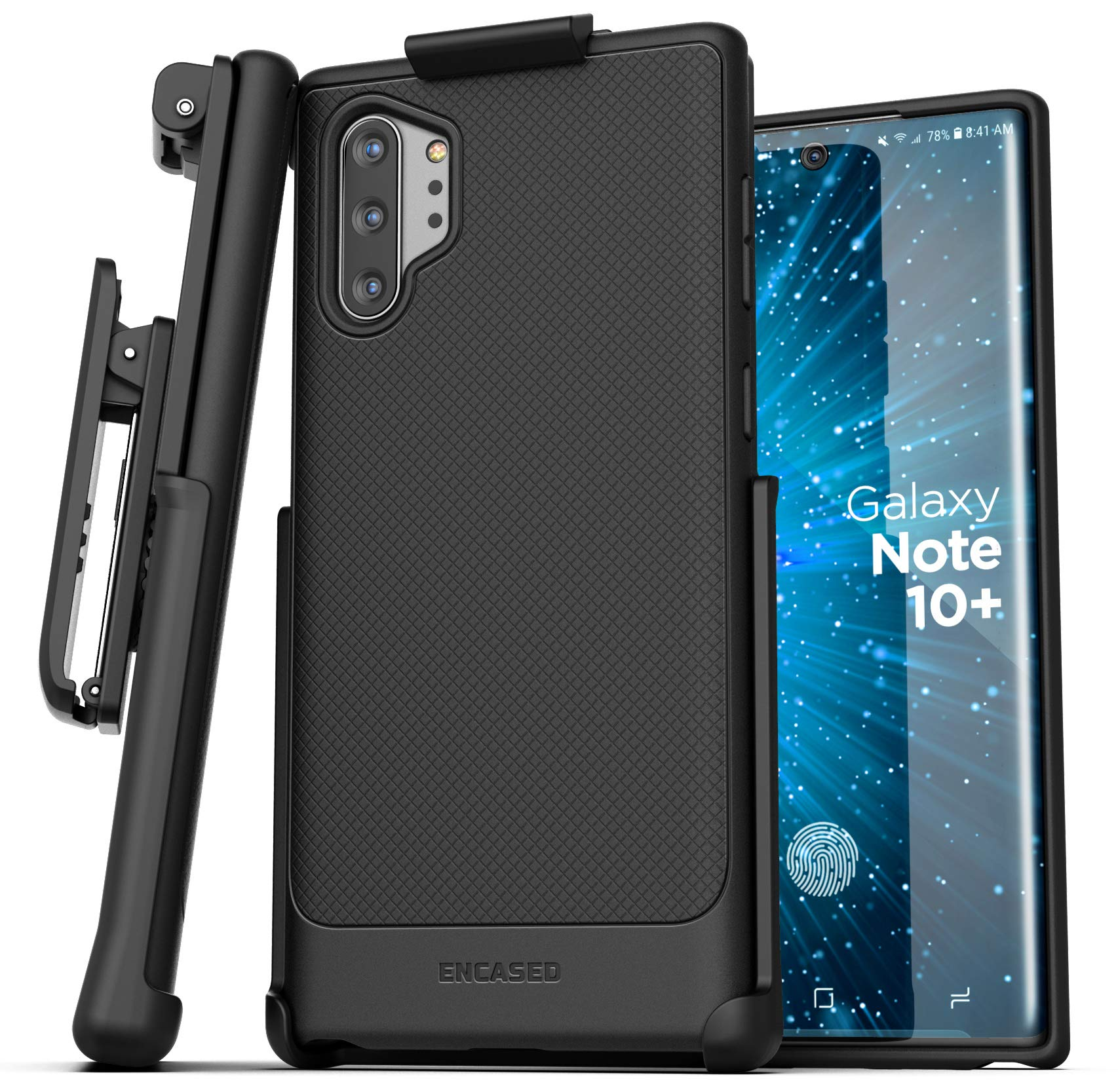 Encased Galaxy Note 10 Plus Belt Clip Case (Thin Armor) Slim Grip Cover with Holster (Samsung Note 10+) Black by Encased