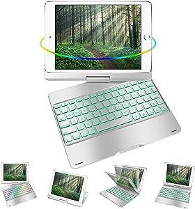 iPad Keyboard Case for 9.7 iPad 2018 (6th Gen), iPad 2017 (5th Gen), iPad Pro 9.7, iPad Air 2 Air 1,360 Rotatable Ultrathin Smart Keyboard Cover,Auto Wake Sleep,7 Color Backlit (Metal Style-Silver)