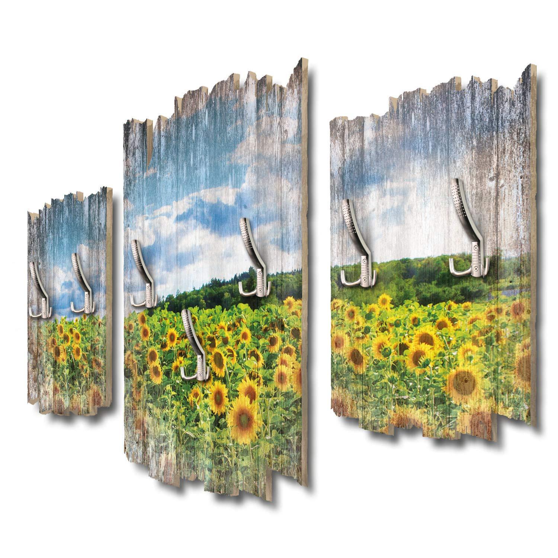 Kreative Feder Sonnenblumenfeld Designer Wandgarderobe Flurgarderobe Wandpaneele 95 x 60 cm aus MDF DTGH092