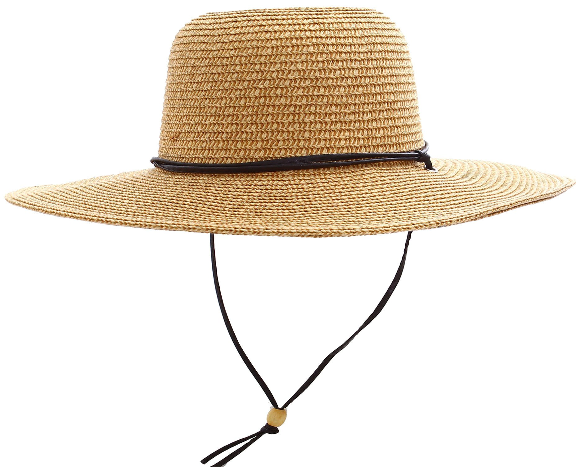 Livingston Straw Hat Womens Wide Brim Sun Protective Straw Sun Hat,Natural/Brown