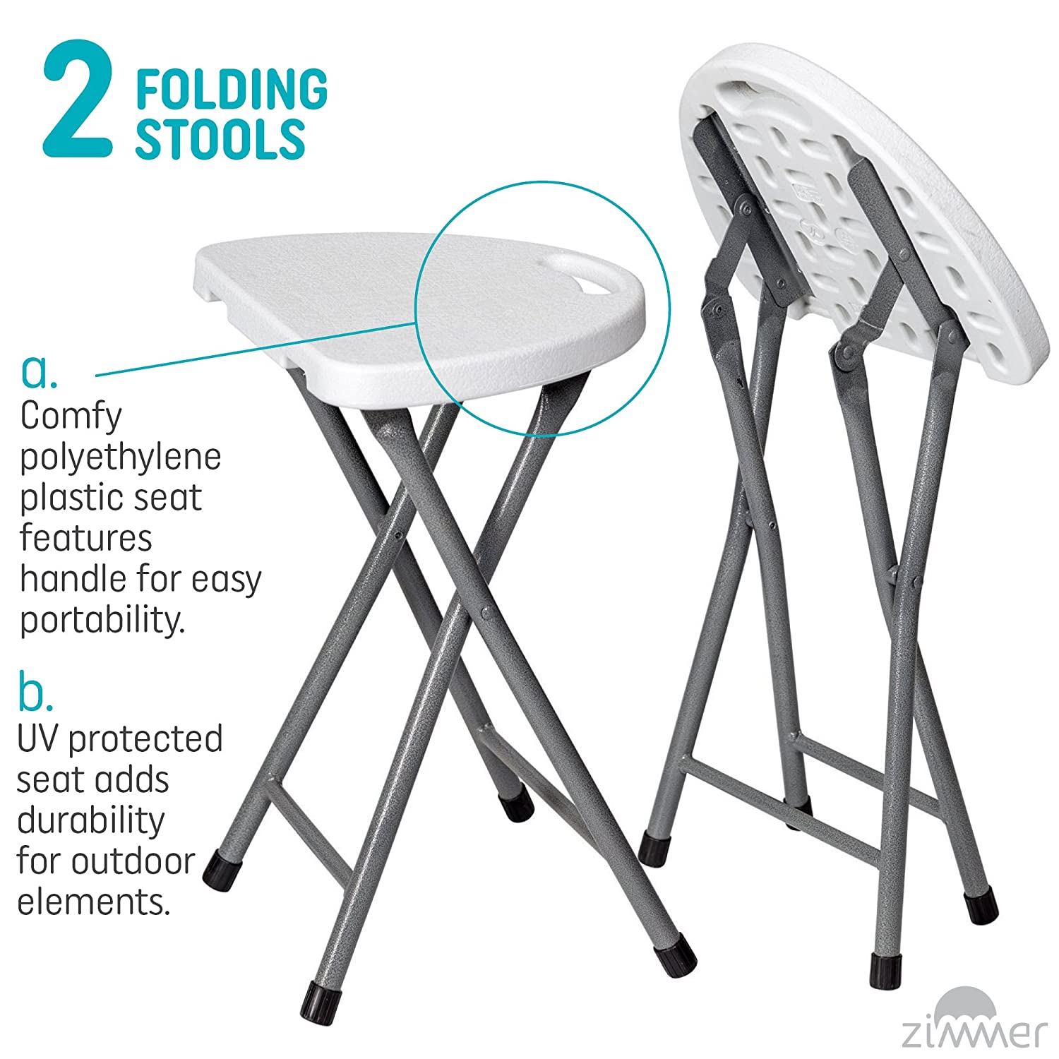 Weather and Impact Resistant for Indoor//Outdoor Use Portable Plastic Chair with Durable Steel Frame Legs for 220 Pound Capacity 18-Inch Set of 2 Easy Carry Handle White Zimmer Folding Stool