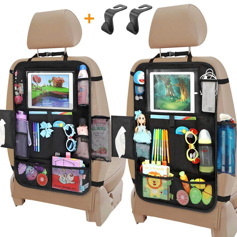 Car Seat Organizer, Backseat Car Organizer with Touchable Tablet Holder , 12 Storage Pockets, 2 Hooks, Earphone Hole Design, 2 Backup Bags, Kick Mats Car Organizer Back Seat (2 Pack)