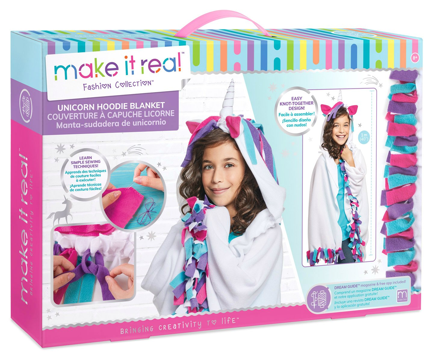 Make It Real Unicorn Hoodie Blanket. Wearable Unicorn Hooded Blanket Arts and Crafts Kit for Girls. DIY Kit Guides Tweens to Create Their Own Unicorn Hoodie Fleece Knotted Blanket