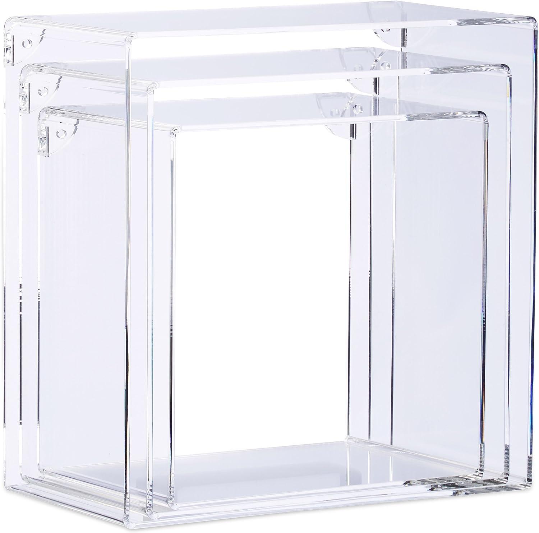 14 x 27 x 27 cm Relaxdays Juego de Baldas Flotantes En Forma de Cubos Cuadrado