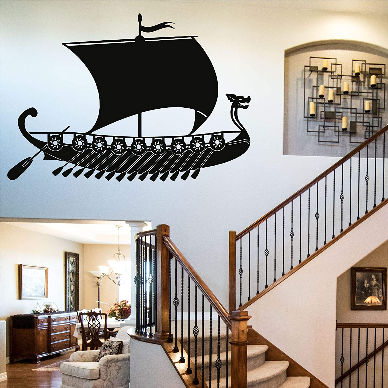 "Metal Wall Decor, Metal Viking Ship Decor, Nordic Symbols Vintage Ship Art, Home Decoration, Metal Ship Sign, Wall Hangings (30""W x 21""H / 75x52cm)"