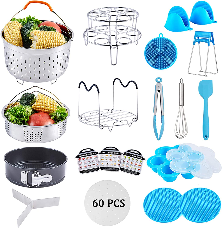 Accessories for Instant Pot 6,8 Qt, 21 Pcs Pressure Cooker Accessories Set, Steamer Basket, Springform Pan, Parchment Papers, Egg Beater, Silicone Egg Bites Mold.