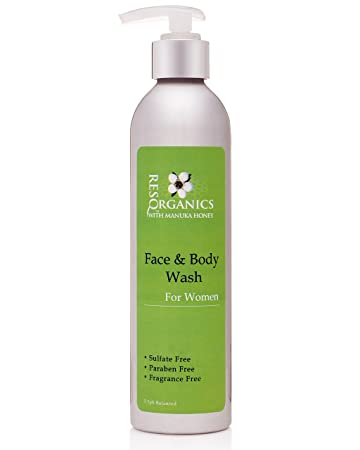 ResQ Organics Gentle Facial Cleanser Body Wash – All Natural Way To Clean and Moisturize With Aloe Vera, Natural Healing Manuka Honey and Organic Ingredients – Perfect Make-up Remover or Shaving Cream