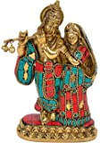 Cosmo-Craftvilla Radha Krishna Idol/ Murti/ Statue Multicolor With Flute, Religious Gift (Brass. W-990gm, H-6 Inchs)