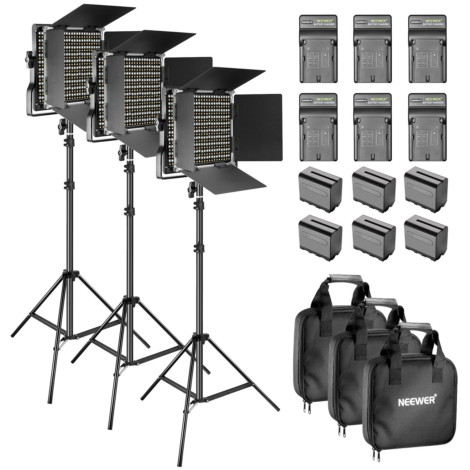 Neewer Bi-Color LED Video Light and Stand Kit with Battery and Charger-660 LED with U Bracket and Barndoor(3200-5600K, CRI 96+), 3-6.5 Feet Adjustable Light Stand for Studio, YouTube Shooting (3 pack) by Neewer