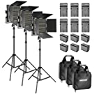 Neewer Bi-Color LED Video Light and Stand Kit with Battery and Charger-660 LED with U Bracket and Barndoor(3200-5600K, CRI 96+), 3-6.5 Feet Adjustable Light Stand for Studio, YouTube Shooting (3 pack)