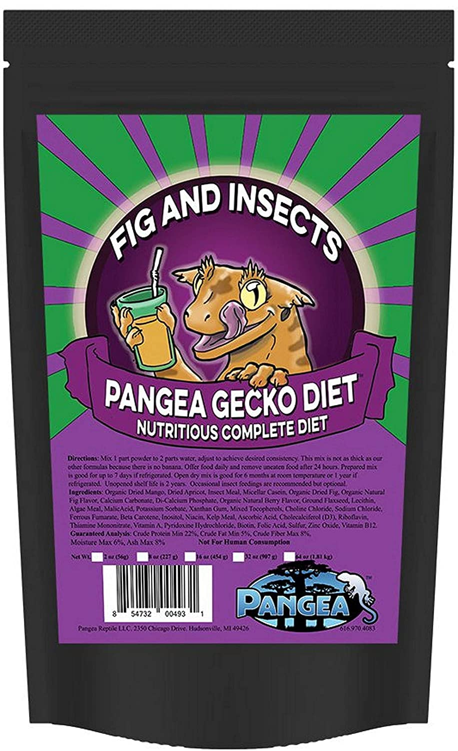 Pangea Gecko Diet Fig & Insects Complete Gecko Diet 16oz
