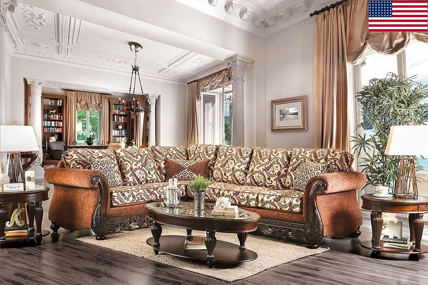 Amazon com esofastore formal traditional living room sectional sofa set rolled arms intricate wood trim brown color chenille fabric cushion couch accent