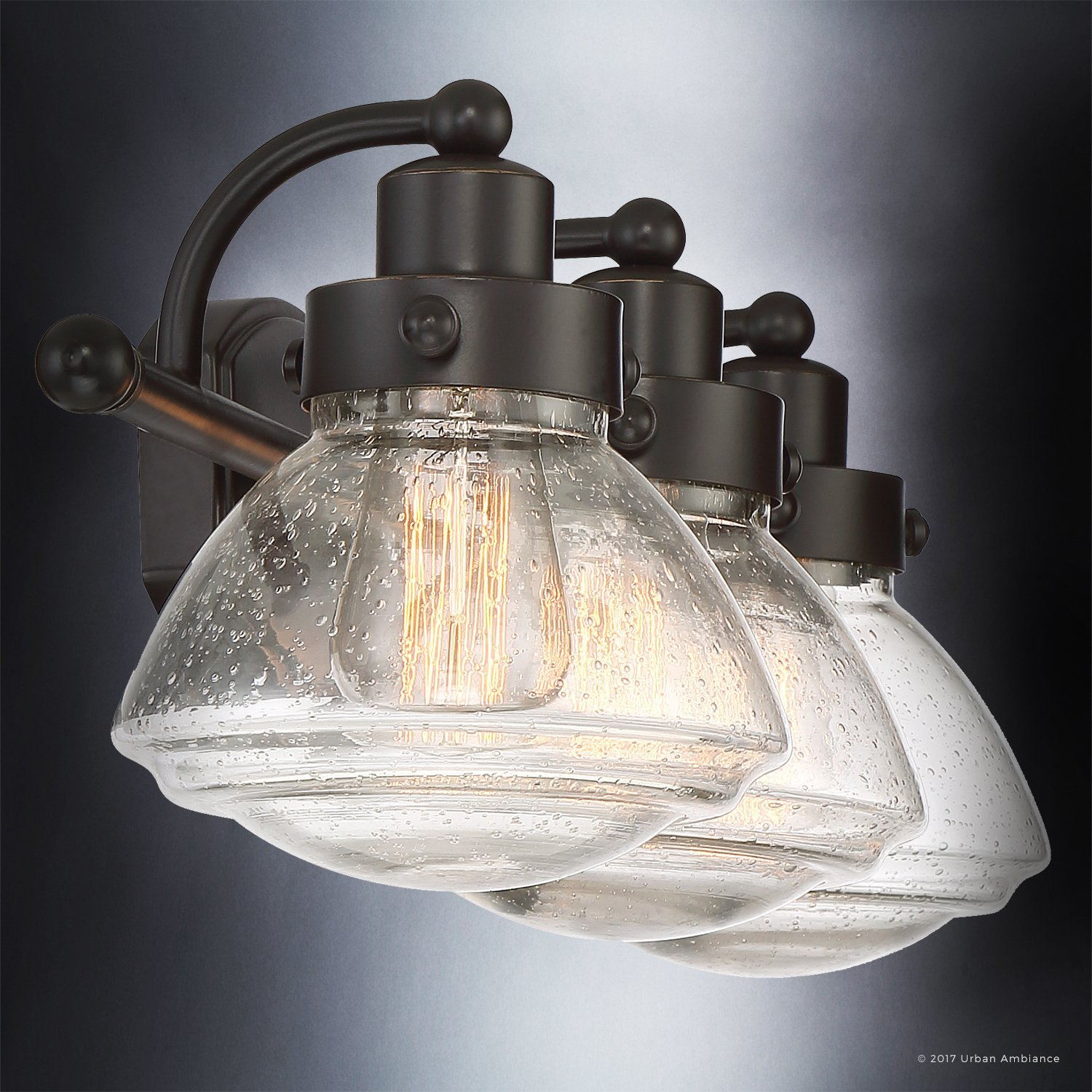 Luxury Transitional Bathroom Vanity Light, Medium Size: 8''H x 25''W, with Rustic Style Elements, Oil Rubbed Parisian Bronze Finish and Seeded Schoolhouse Glass, UQL2652 by Urban Ambiance by Urban Ambiance (Image #5)