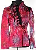 Shanghai Tone® Blouson Veste Chinoise Asiatique de Femmes Style Elégant Satin Col V Velours Fleur Rose avec Motif de Chrysanthème Tailles Disponibles: 36-44