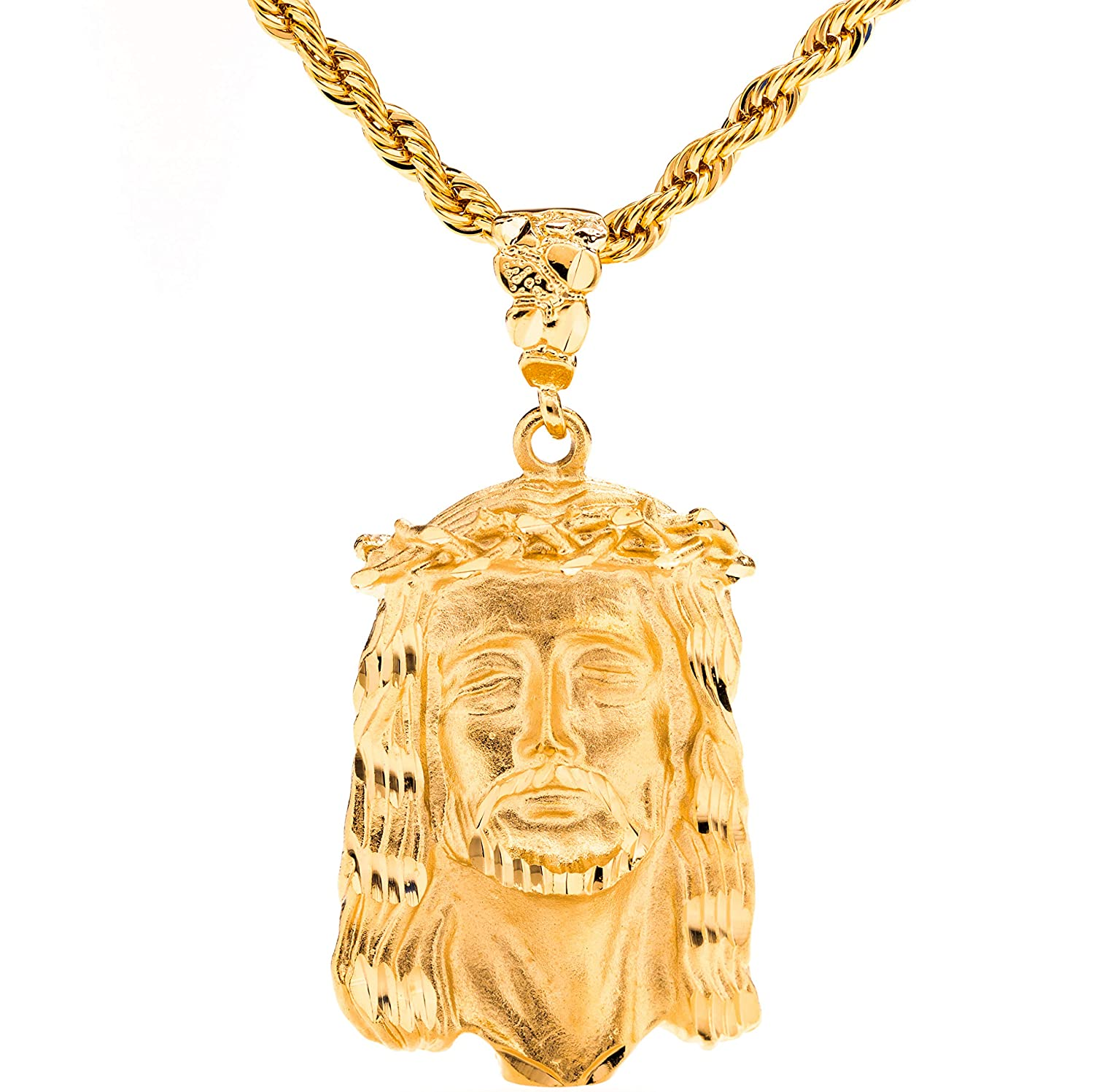 """Lifetime Jewelry Jesus of Nazareth [ Face of Christ Pendant ] 20X More 24k Real Gold Plating Than Other Fashion Necklaces - with or without CZ Stones on 20"""" Chain - Free Lifetime Replacement Guarantee"""