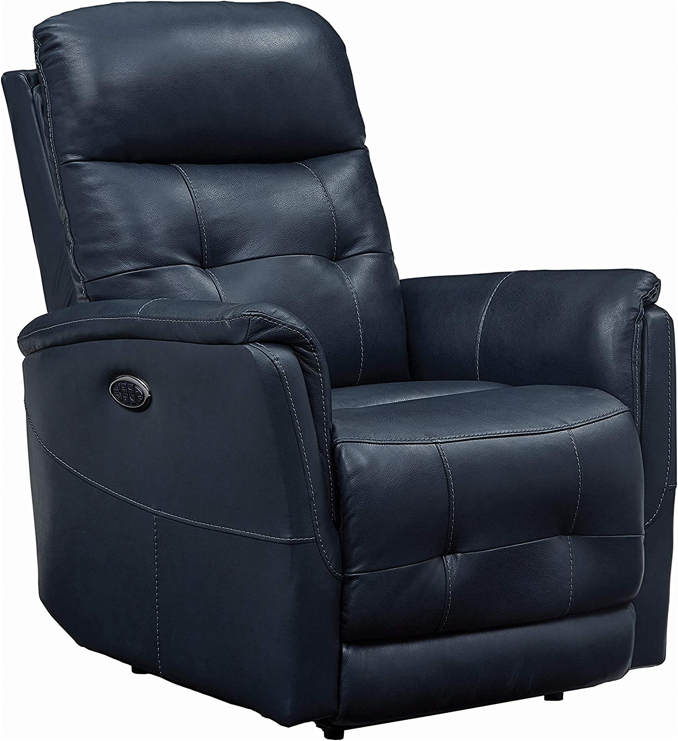 Coaster Home Furnishings Upholstered Cushion Back Seat, Headrest and Power Lumbar Blue Recliner