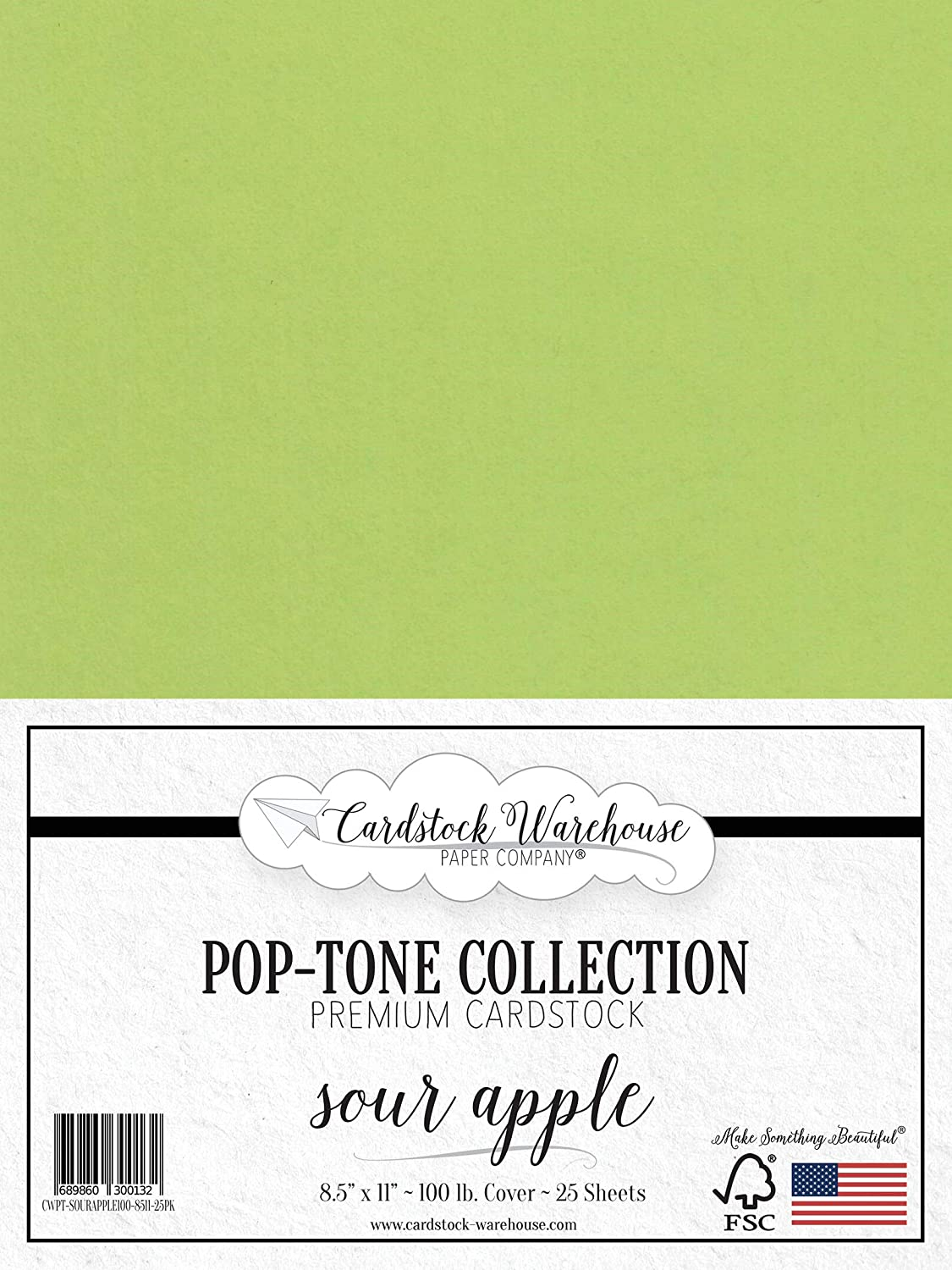 Sour Apple Green Cardstock Paper - 8.5 x 11 inch 100 lb. Heavyweight Cover -25 Sheets from Cardstock Warehouse