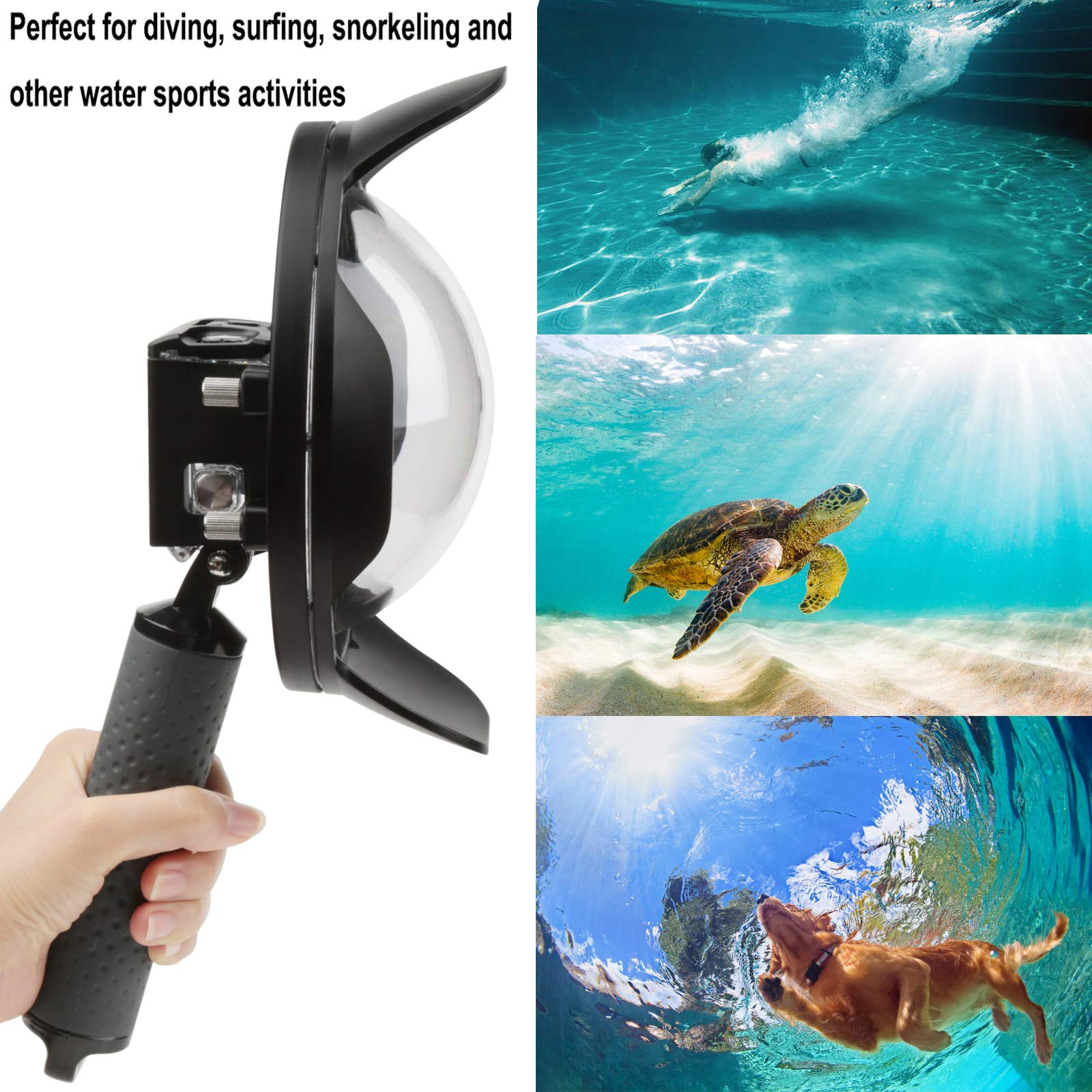 Gurmoir Shoot 6'' Dome Lens Hood Dome Port for Gopro Hero 7 Black/Hero 6/Hero 5/Hero (2018) Action Cameras Snorkeling Underwater Diving Dome with Waterproof Housing Case with Soft Rubber Floating Grip by Gurmoir (Image #3)