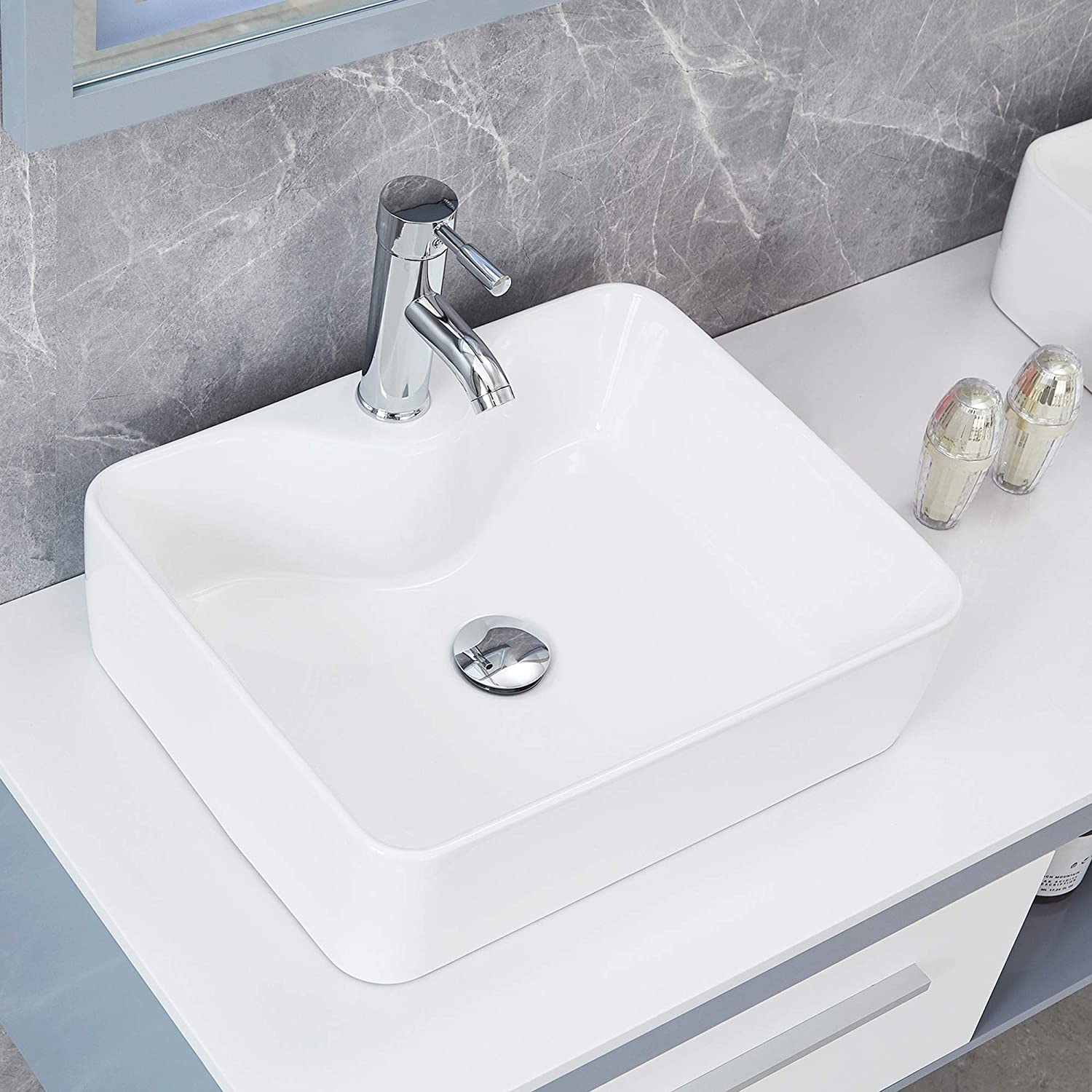 Above Counter Vanity Bowl Vessel Sink With Pop Up Drain Stainless Steel Faucet Combo For Lavatory Cabinet 19x14 6x5 1 Inch Bathroom Porcelain White Rectangle Ceramic Vessel Sink Kitchen Bath Fixtures Tools