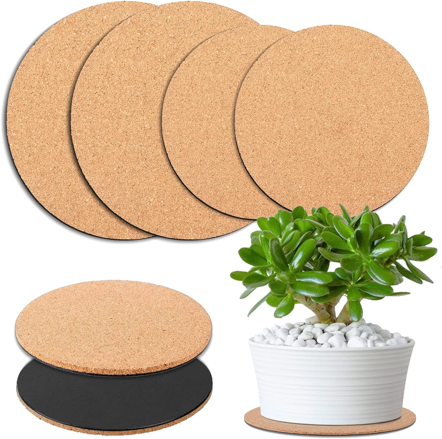 BEATURE 6 Pcs Cork Plant Mat Plastic Plant Mat Round Plate Pad for Courtyard, Pot Mat, Indoor, Garden, and DIY Craft Project (6-Inchs, 8-Inchs, 10-Inchs)