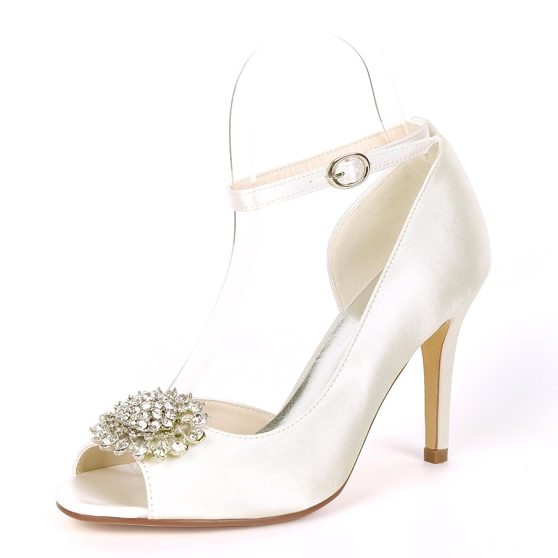 Flower-Ager Y5623-16BC Mujeres Satin D'orsay Peep Toe Rhinestone Boda Zapatos Nupciales De La Corte UK4/EU37|Ivory