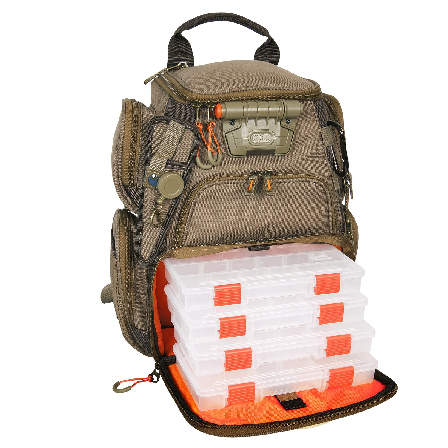 Wild River by CLC WT3503 Tackle Tek Recon Lighted Compact Tackle Backpack with Four PT3500 Trays and Clear, Water-resistant Phone Storage by Custom Leathercraft