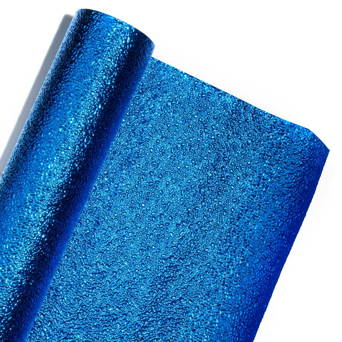 Royal Blue Cracked Ice Textured Metallic Decorating Paper Roll