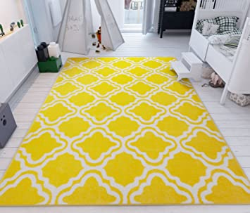 Modern Rug Calipso Yellow 100 x 150 cm Lattice Trellis Accent Area Rug Entry Way Bright