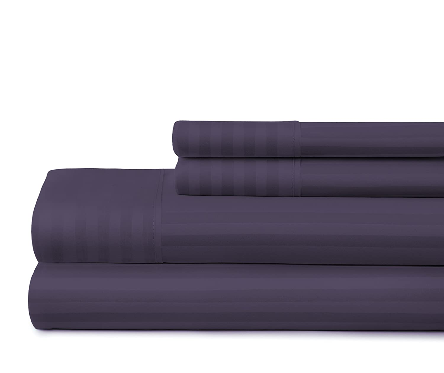 California King ienjoy Home Dobby 4 Piece Home Collection Premium Embossed Stripe Design Bed Sheet Set Purple