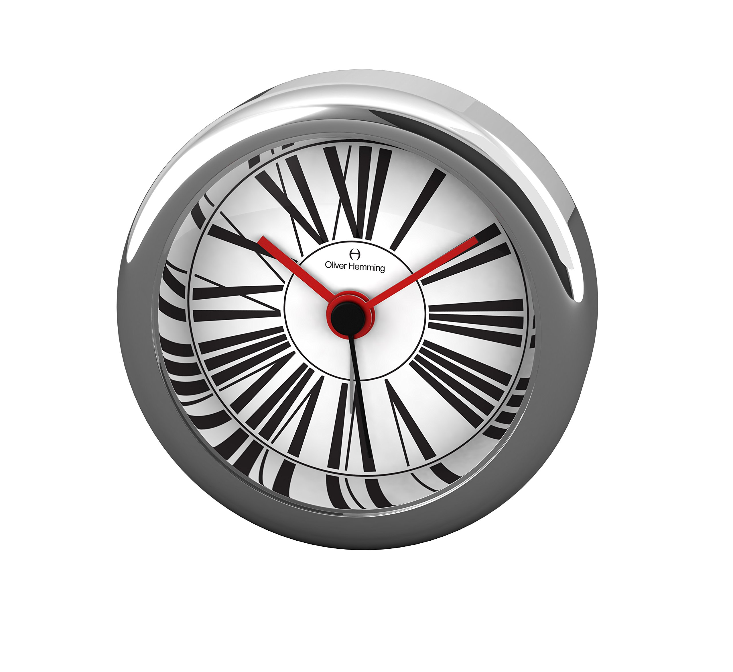 Oliver Hemming Chrome Steel Alarm Clock with Roman Numeral Dial