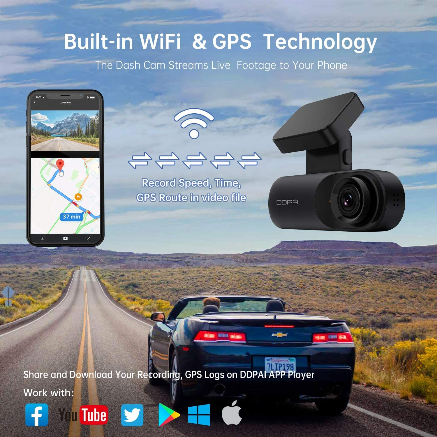 DDPAI Mola N3 Dash Cam App /& Wi-Fi| Support 128GB max 1600P Front Dash Cam 2K Dash Cam Recorder Single Front Dashboard Camera for Car| Infrared Night Vision |24hr Motion Sensor Parking Mode