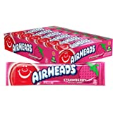 Airheads Candy, Individually Wrapped Full Size Bars, Strawberry, Bulk Taffy, Non Melting, Party, 0.55 oz (Pack of 36)