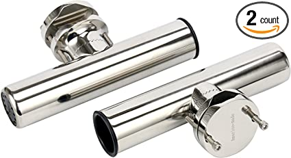 """2PCS Stainless Boat Fishing Rod Pole Holders for Rails 1/"""" to 1-1//4/"""" with Clamp"""