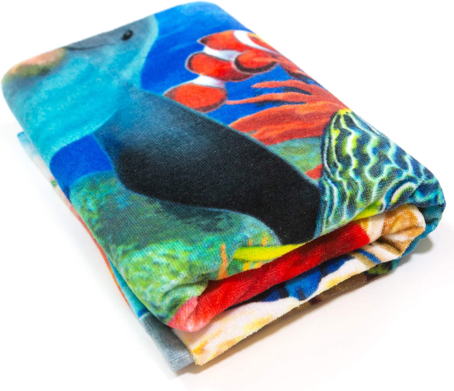Turtle Beach Towel 54 X 68 Inch Fishes Underwater Tropical Blanket 100/% Cotton