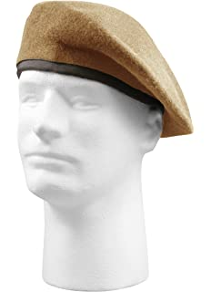 84ab4d82852d2 Amazon.com  Ranger Tan Beret with Leather Pre Shaped  Clothing