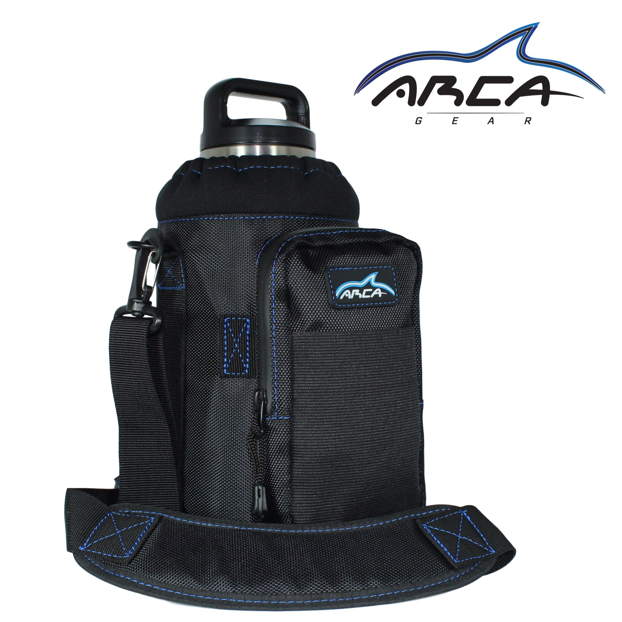 Arca Gear 64oz Insulated Stainless Bottle Carrier and Holder - Includes Carry Handle, Shoulder Strap, Wallet and Large Pocket for Storing items. Protect your Flask Rambler Growler or Water Bottle