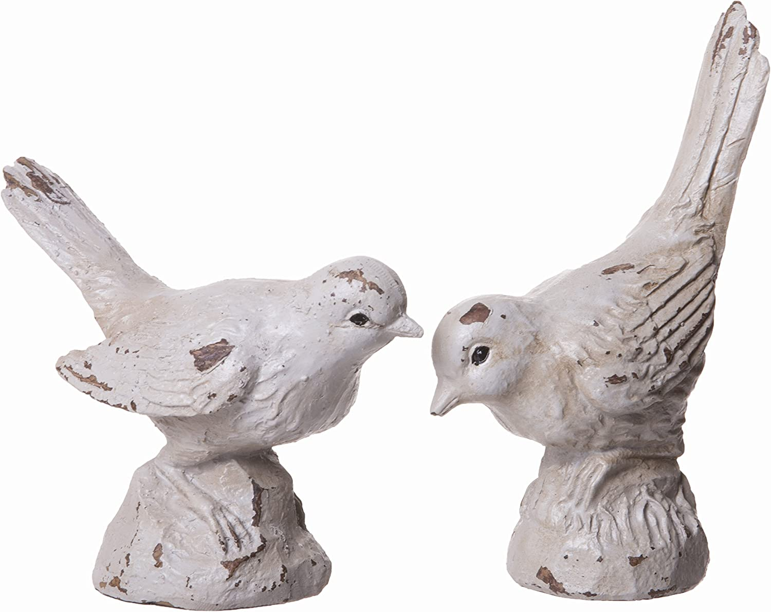 Red Co. Little Aged Bird Sculptures, Garden Inspired Home Decorations, Set of 2 Off White Figurines, Small, 3-inch