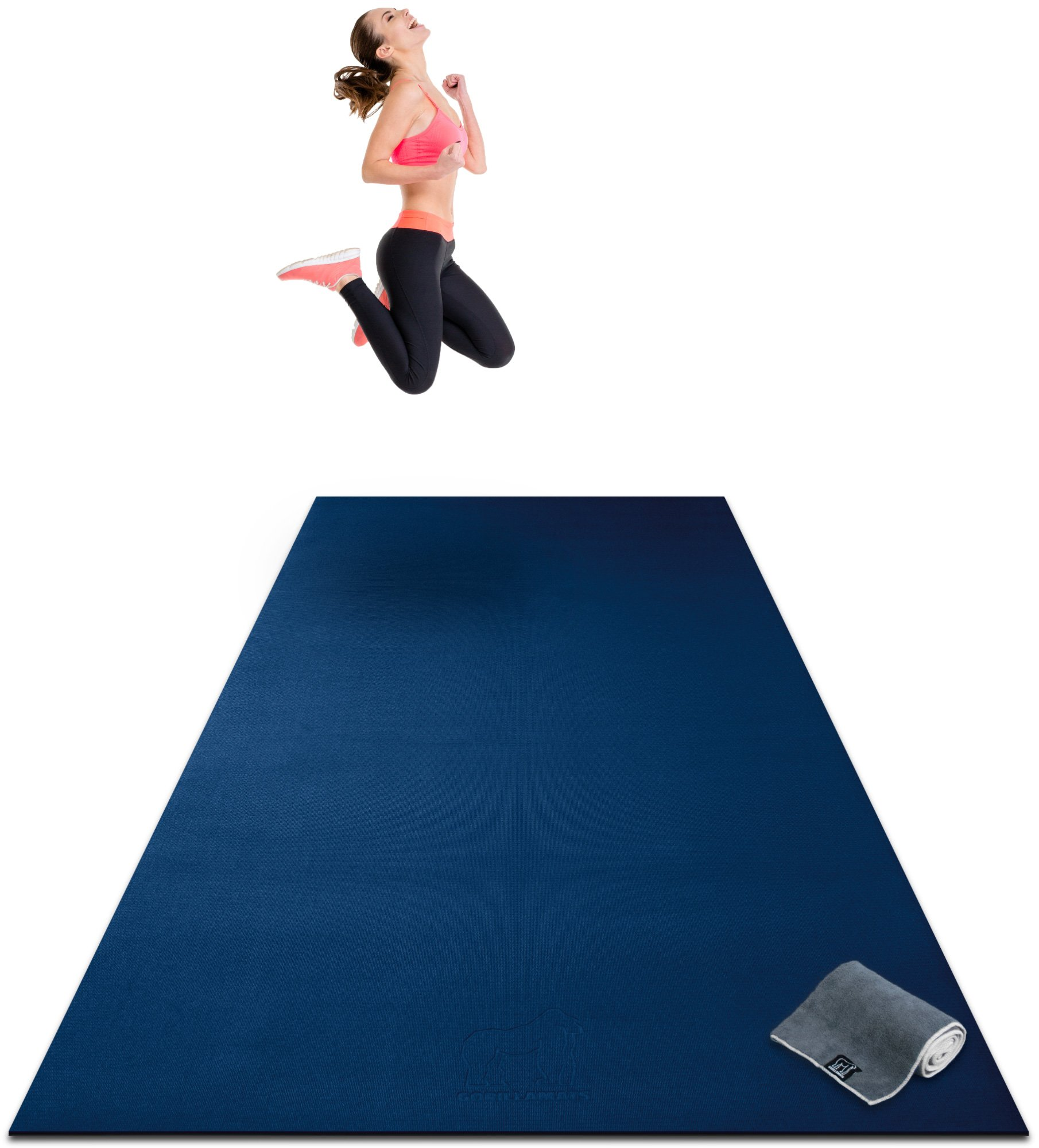 Premium Extra Large Exercise Mat - 10' x 4' x 1/4'' Ultra Durable, Non-Slip, Workout Mats for Home Gym Flooring - Plyo, MMA, Cardio Mat - Use with or Without Shoes (120'' Long x 48'' Wide x 6mm Thick)
