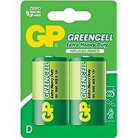 Gp Batteries Gp13G Greencell R20P/1250/D Boy Kalın Pil, 1.5 Volt, 2'Li Kart