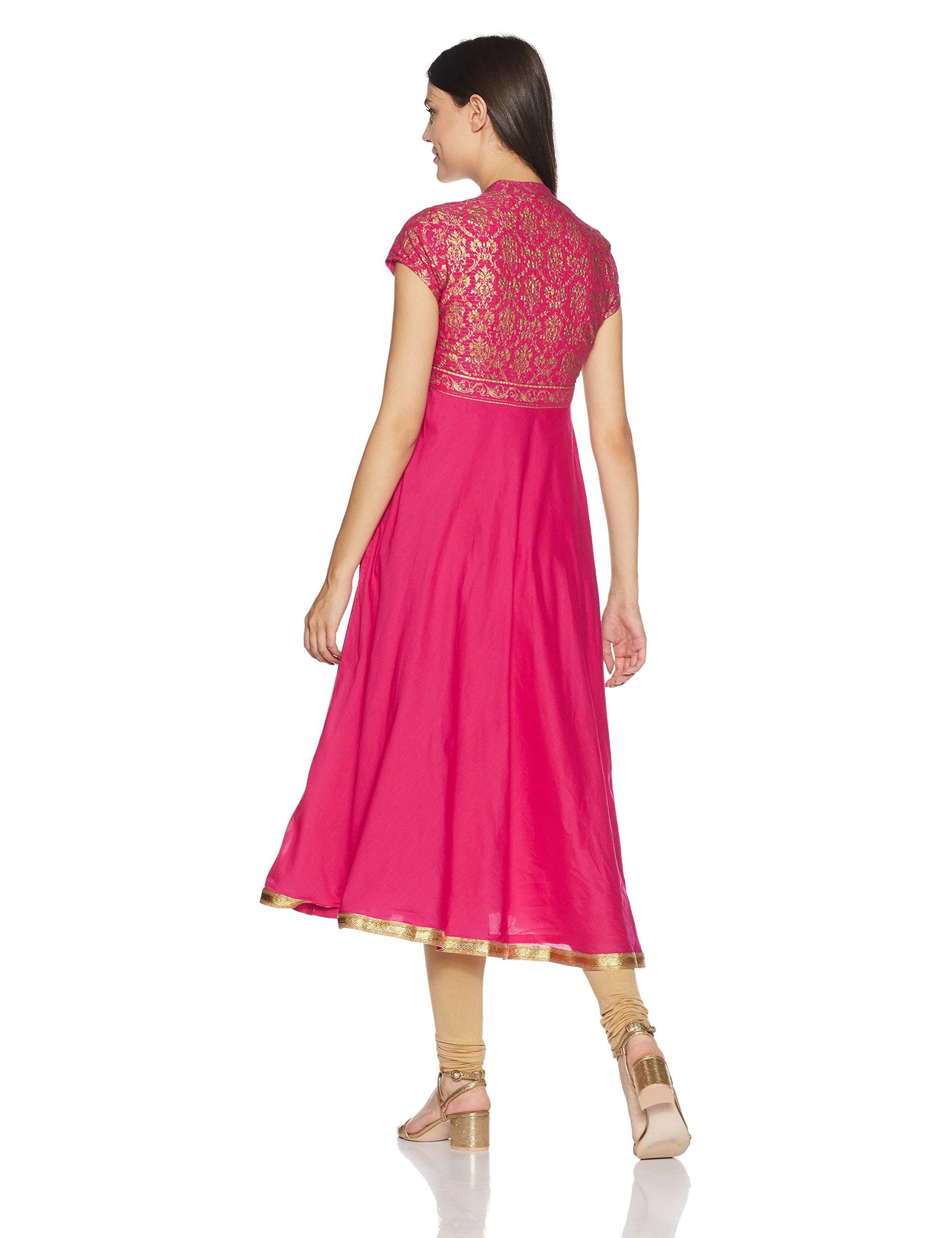 BIBA Women's Anarkali Cotton Kurta 34 Pink by Biba (Image #2)