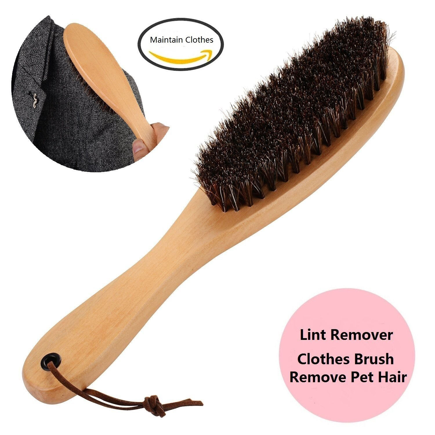 Clothes Brush Coat Brush Suit Brush Lint Brush for Clothes with Genuine Soft Horse Mane for Men Suits and Furniture Jacket