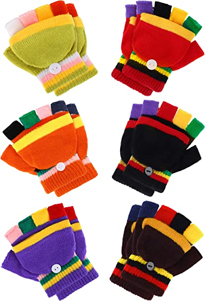 6 Pairs Convertible Fingerless Gloves Warm Knit Glove with Mitten Cover for Kids Color Set 1