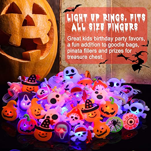 50 Pack Halloween LED Glow Ring for Kids The Dark Birthday Party Supplies Prizes Classroom LED Halloween Christmas Light up Toys Flash Finger Rubber Rings 10 Shape Ghost Pumpkin Skeleton Spider Bat