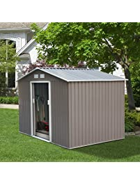 DOIT 8u0027x8u0027 Outdoor Metal Steel Low Gable Storage Shed With Floor Frame  Foundation