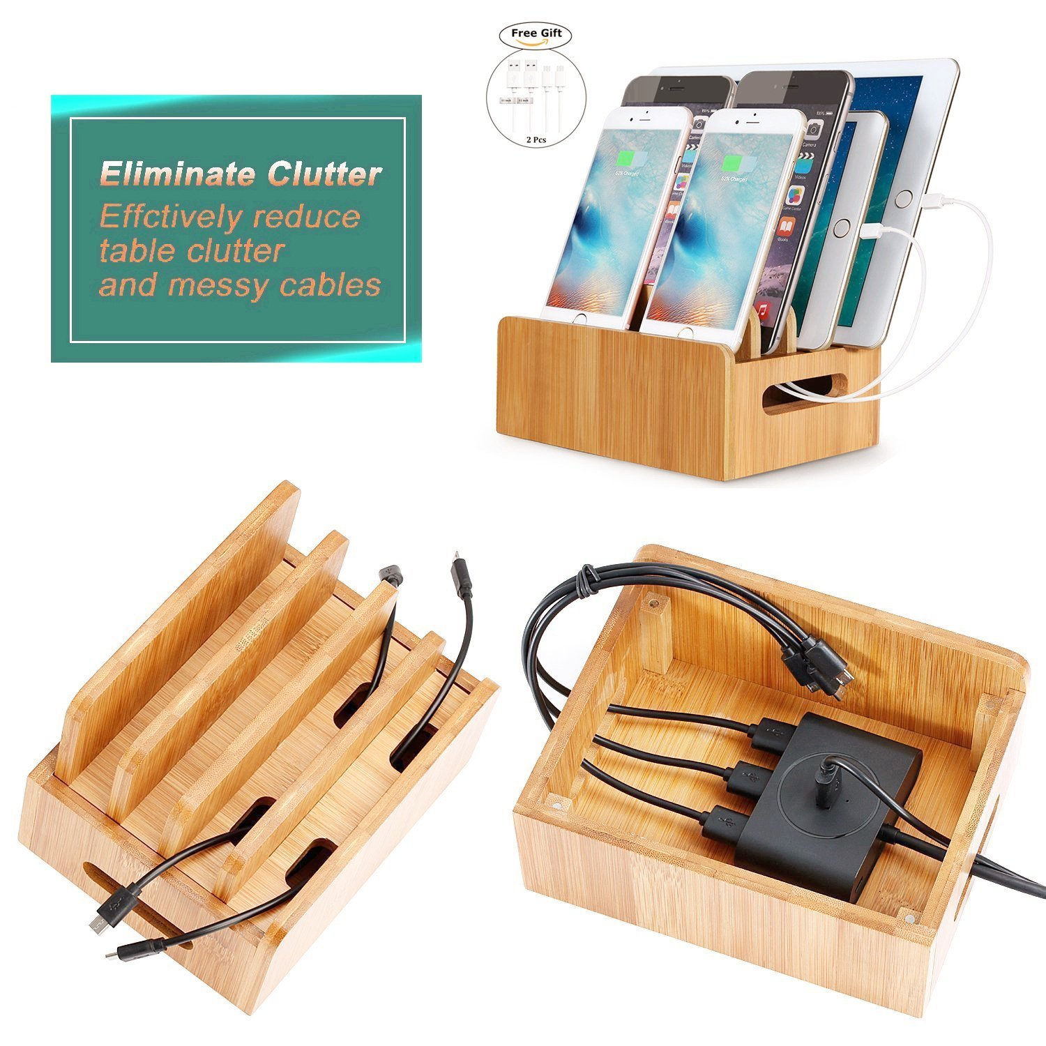 Firstbuy Multi Device Bamboo Charging Station Original Electronics Charging Station & Organizer for iPad, iPhone,Tablets, Smartphones &Cords Organizer Stand&Other Gadgets,Strong Build of Eco Bamboo
