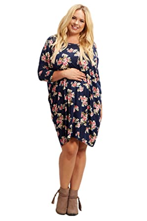 Pinkblush Maternity Navy Blue Floral Dolman Sleeve Plus Size Dress