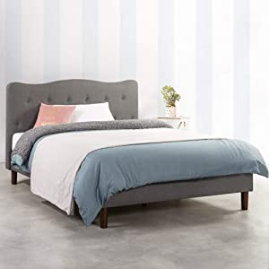 Mellow JANNE Upholstered Platform Bed, Modern Tufted Headboard, Real Wooden Slats and Legs, Classic Grey, King